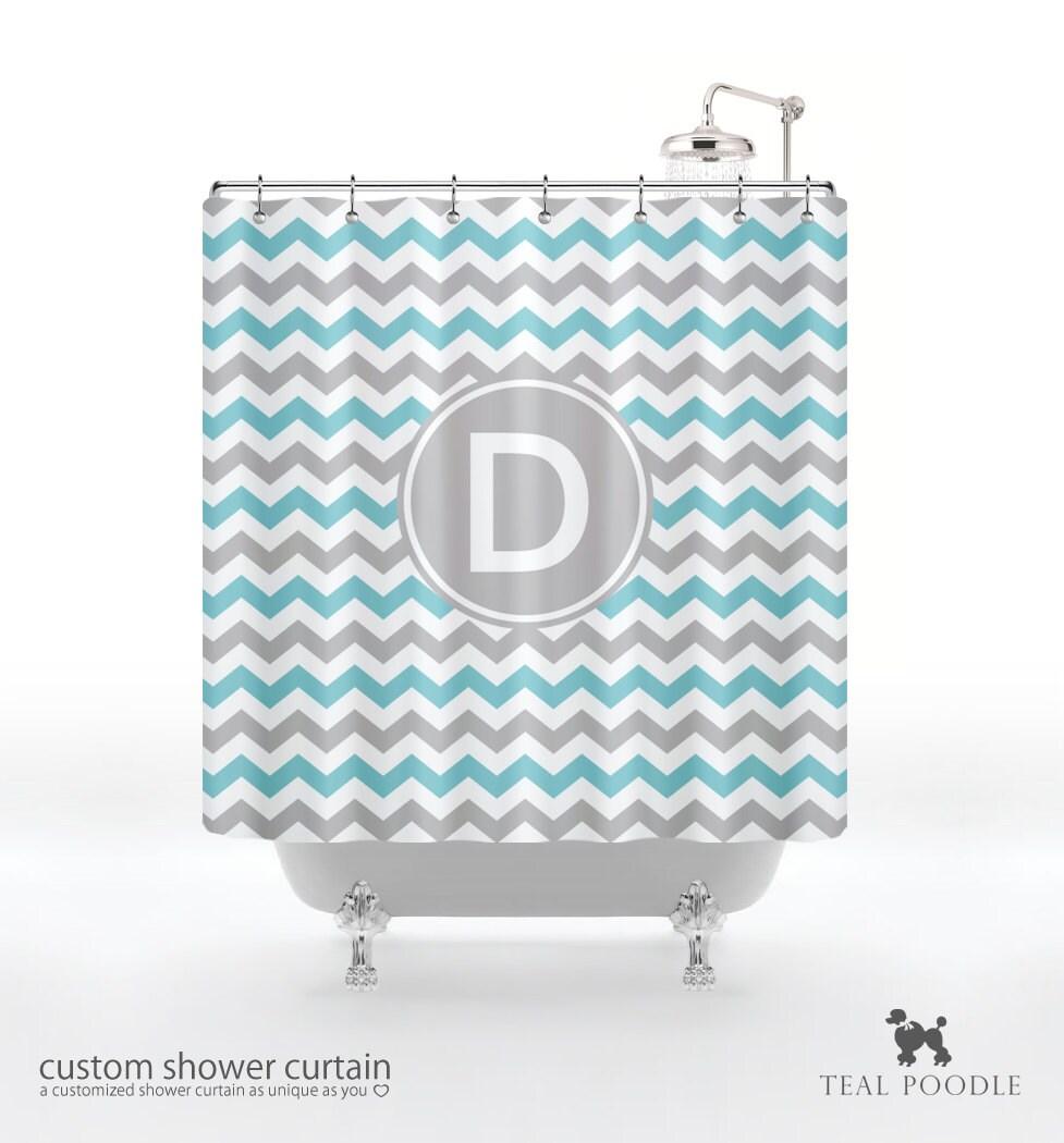chevron shower curtain you choose color custom monogram. Black Bedroom Furniture Sets. Home Design Ideas