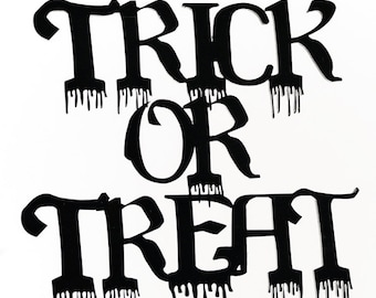 Halloween Decoration Trick or Treat Mobile - Laser cut and engraved Black Acrylic