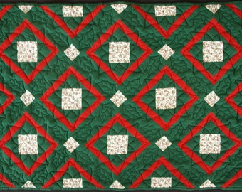 Hand Quilted Red and Green Christmas Wall Hanging or Table Topper