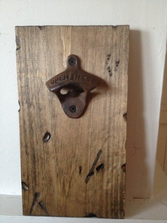 wall mount bottle opener on rustic wood. Black Bedroom Furniture Sets. Home Design Ideas