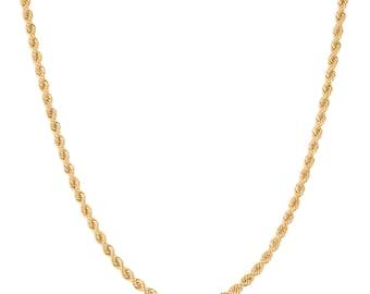 10K Yellow Gold 3.0mm Rope Chain - Handmade