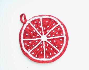 Crochet eco friendly trivet hot pad - Grapefruit - red - cotton