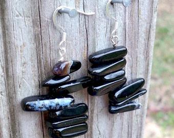 Deanna - LONG Chunky Black Shell Stick Beaded Dangle Fish Hook Earrings - Beachy, Breezy, Perfect for Summer