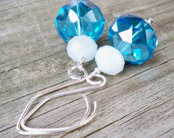 Raine - Chunky Aqua Blue Opaque White Faceted Glass Rondel Silver Fish Hook Dangle Earrings