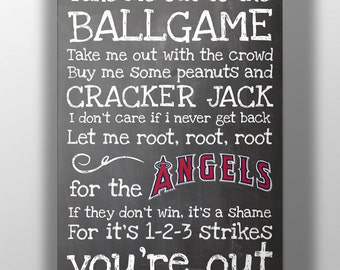 Los Angeles Angels- Take Me Out to the Ballgame Chalkboard Print