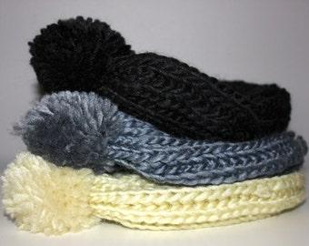 Wool Knit Beanie with Pom Pom