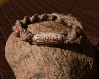 Natural Hemp Brown Tribal Bracelet