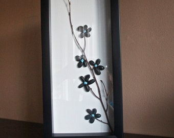 "Awesome Shadowbox Art - Made of Sticks and Stones - ""Black Flowers 2"" - 6 x14"