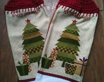 Vintage Christmas Tree Crochet Towel with Topper