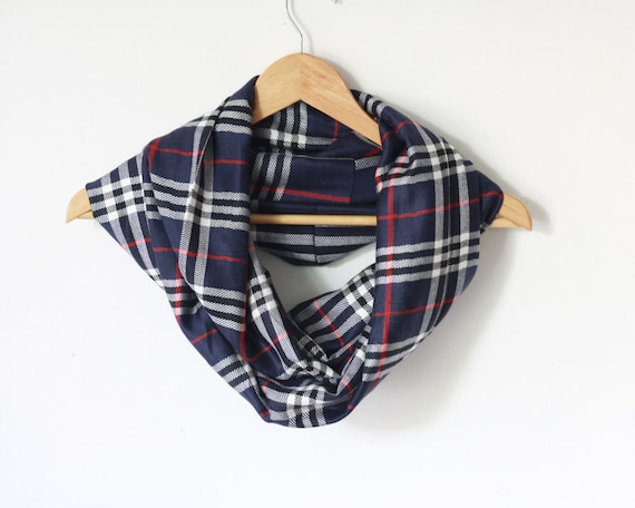 Plaid Navy Blue Scarf, Infinity Scarf, Men's scarf, Loop scarf