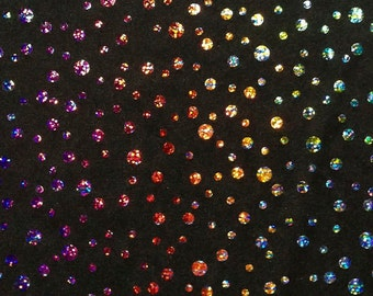 Stretch Fabric - Hologram Champagne Bubble Print on Black Four way Stretch Spandex Fabric 5 Yard/5 Meter Item#RXPN-22414B-5