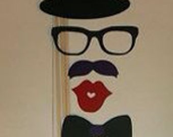 6 Photo Booth Props Mustache on a stick Weddings Birthdays Party