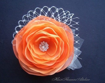Orange Headpiece Ivory Veil Orange Hair Piece Orange Wedding Accessory Orange Bridal Hair Clip Orange Bridal Accessories Orange Hair Flower