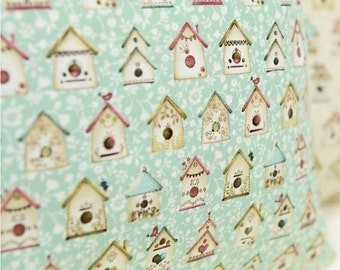 Cotton Fabric Bird House Mint By The Yard