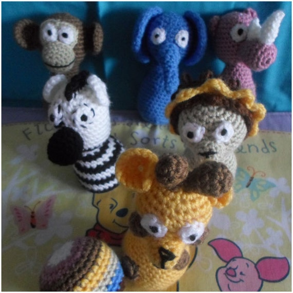 Crochet Patterns For Jungle Animals : Crochet Pattern Safari Animal Skittles by CreativeCrochetToys