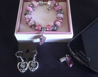 """Authentic PANDORA Bracelet """"it's a Girl"""" - Pink"""" w/ Matching Dangle Earrings and Cell Phone Dust Plug Charm-fits all cell phones"""