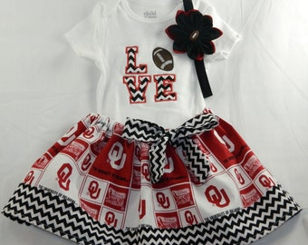 University of OKlahoma OU NCAA Embroidered onesie, skirt, and headband for baby girl, NB-18 months