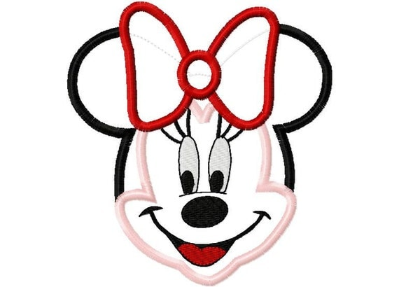 Miss Mouse Full Head Applique Design Machine Embroidery Design 4x4 and 5x7 minnie