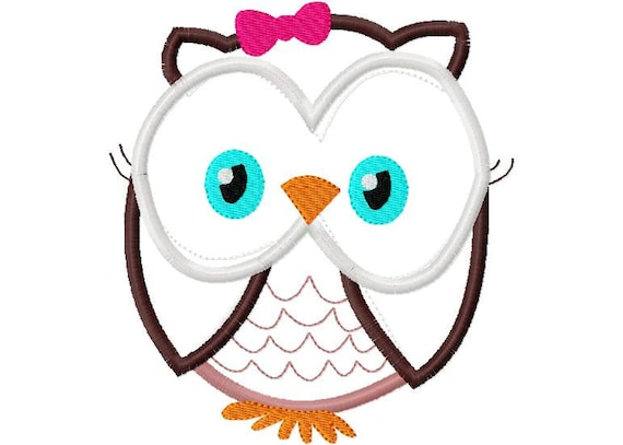 Owl Girl Applique Design Applique Machine Embroidery Design 4x4 and 5x7