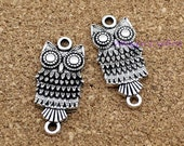 15pcs--Antique tibetan Silver owl Charms,owls Pendants/owl connector 27x13mm