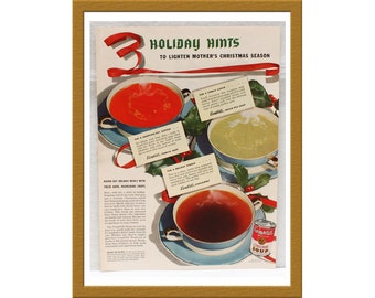 "1943 Campbell's Soup AD / Green pea soup, tomato soup, consommé / Original Print Ad / 9 1/4"" x 12 5/8"" / Buy 2 ADS Get 1 FREE"
