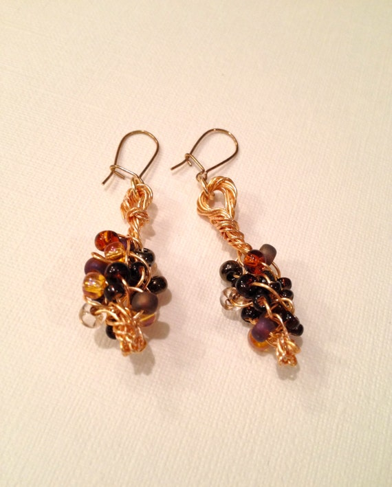 Wire braided multi-colored (wheatberry) bead earrings
