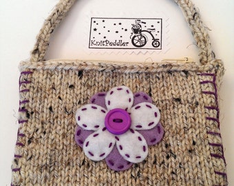 Flower Coin Purse - Cute Flower Change Purse, Violet Knit Coin Purse - Oatmeal Yarn - Violet and White Felt Flower