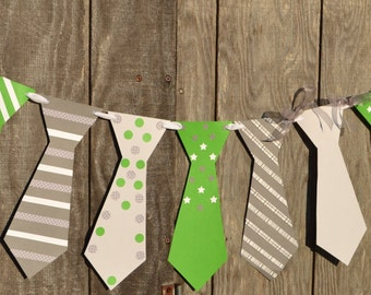 Green, White and Gray Tie Banner, Baby Boy Shower Banner, Nursery Banner, Tie Banner, Gender Reveal Banner