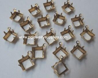 8mm brass square open back prong setting pendant settings one ring 18 pcs  lot l
