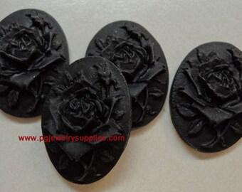 25x18 Rose and bud black on black cabochon cameo  4 pcs