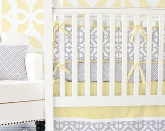 Yellow and Gray Mod Lattice Designer Baby Bedding, Modern Crib Bedding, Grey Baby Bedding
