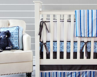 Blue and Gray Damask Crib Bedding - SWATCH SET