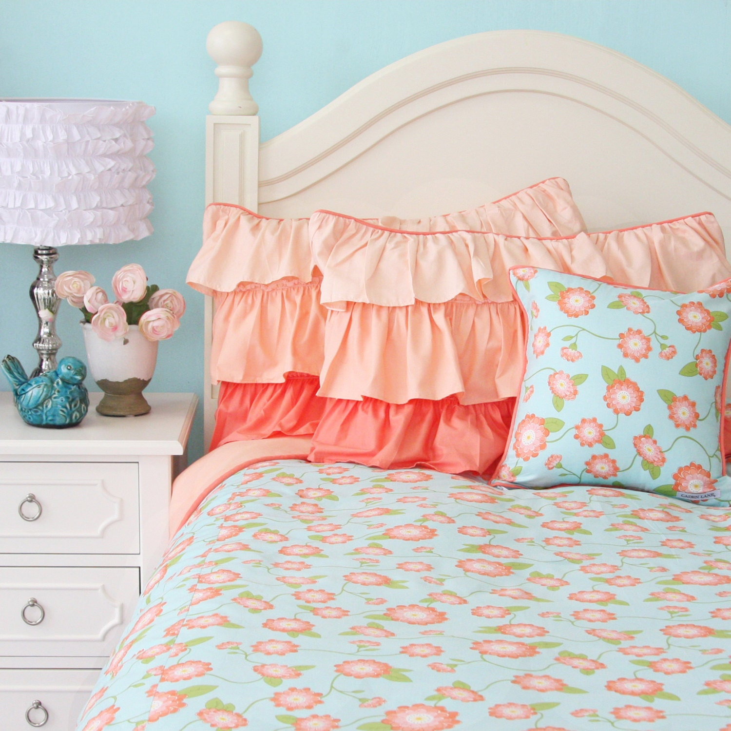 Coral Floral Twin Full Queen Bedding By Cadenlanebabybedding