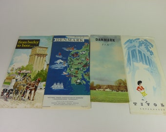6 Vintage Danish Maps and Brochures