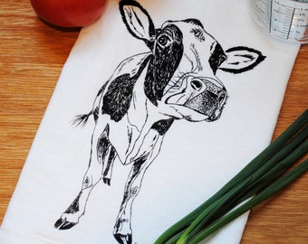 Cotton Kitchen Towel - Hand Screen Printed Black Cow - Flour Sack - Towel is Perfect for Dishes