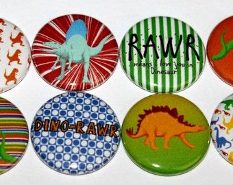 Rawr! Dinosaurs Everywhere flat back flair button set