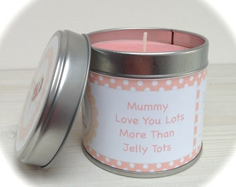 Personalised Candle in a Tin, Soy Wax -  Morher's Day Gift
