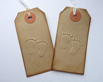 10 Handmade Embossed vintage distressed Baby feet gift tags for presents baby showers christening baby albums
