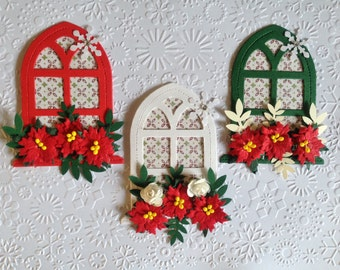3 Handmade Christmas Floral church window card toppers for religious cards- assembled ready to use!