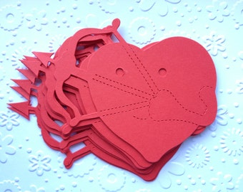 12 large red Heart Balloon die cuts shooting Arrows for valentine cards, cardmaking, papercraft wedding