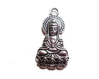 1 Goddess Kannon Pendant, 34x18mm, Antique Silver Goddess Kannon Charms, Goddess of Mercy Charms for Jewlery Making, Silver Charm SC0043
