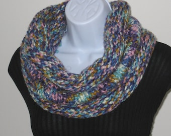 Hand Knitted Cowl - Hand Knit Scarf, Circle scarf, Chunky scarf, Snood, Hood Scarf