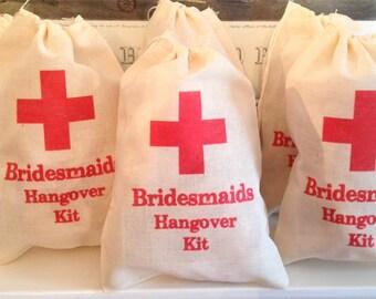 6 Bridesmaids Bachelorette Hangover Kit / Red Cross - Drawstring Bags - Great for Bachelorette Parties 4x6 5x7 6x8 7x9 7x11