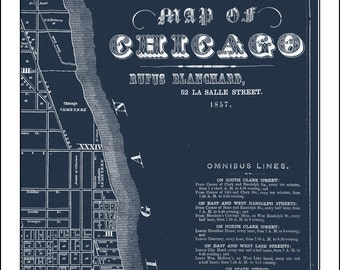 CHICAGO Map, Map of Chicago, Chicago Street Map, Blueprint Map, Chicago 1857, Vintage Map