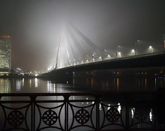 Riga By Night - Fine Art Photography - City landscape, Fog photography, night photography, nightsky photography - Riga, Latvia, Wall decor