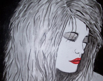 16x20 Abstract Black and White Painting of Woman with red lips #2