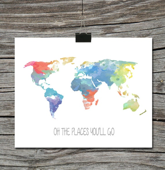 World map travel quote poster watercolor oh the places like this item gumiabroncs Images