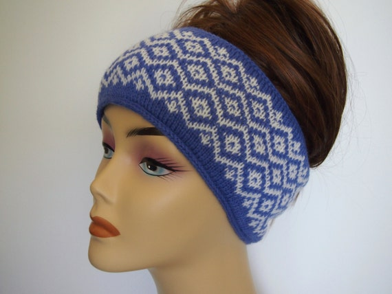 Knitting Pattern Ski Headband : Fair Isle Knit Winter Ski Headband Wool and Angora Blue and