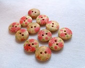 Red Wood Floral Buttons, Set of 12, destash, 2 hole, round buttons