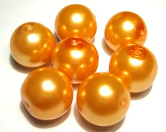 10pcs Orange Glass Pearl Beads 14mm Round O-2